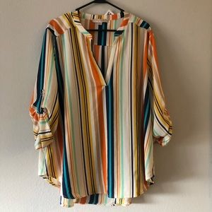 Plus Size Striped Blouse